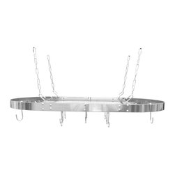 Range Kleen - Range Kleen Stainless Steel Oval Pot Rack - Use this sleek Range Keel oven rack for hanging pots and utensils. This attractive stainless steel pot rack is ceiling mounted with shelf and adjustable hooks to stylishly maximize your kitchen space.