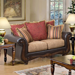 """Acme Furniture - Olysseus Loveseat in Brown Floral & PU - Olysseus Loveseat in Brown Floral & PU; Finish: Brown Floral & PU; Pillows wo Zipper, Loose Seat Cushions with Zipper100% Polyester; Dimensions: 65""""L x 41""""D x 37""""H"""
