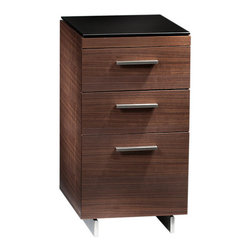 BDI - Sequel 3-Drawer Cabinet 6014, Walnut - The slim and sleek Sequel 3-Drawer Cabinet 6014 put office organization within reach. The lower drawer allows for letter or legal size file storage, while the upper drawers are a catch-all for the office supplies you need in a flash. Three color options are available.
