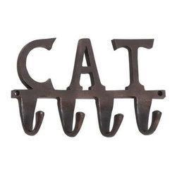 BZBZ28374 - Aluminum Wall Hook Inscribed with The Word Cat - Aluminum wall hook inscribed with the word cat. The wall hook is made from sturdy aluminum and sports an antique black finish. The dimensions of the wall hook are 12 x 2 x 7. Some assembly may be required.