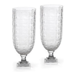 Go Home - Pair of Fancy Schmancy Hurricanes - Lovely Fancy Schmancy Hurricanes put candle in it and place it in center of dining table sure it will give a stunning look to your table and also add charm to your dinner.Made from glass and has cut finish.Sold as set of 2.