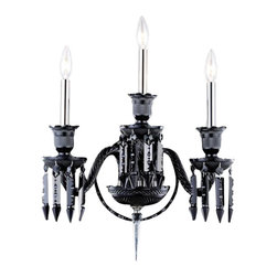 Elegant Lighting - 8903 Majestic Collection Black Finish Elegant Cut Jet Black Crystals Wall Sconce - Nothing is quite as elegant as the fine crystal chandeliers that gave sparkle to brilliant evenings at palaces and manor houses. The crystals in this beautiful Majestic Collection seem to cascade over the traditional frame creating in a majestic look.   The timeless elegance of this collection is sure to command an exceptional ambiance in every home.