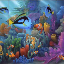 "Artwork On Tile - Miller Undersea Tropical Fish Ceramic Tile Mural 30"" x 24"" - DMA2011 - * 36"" w x 24"" h x .25"" Ceramic Tile Mural on Architectural Grade, 6"" Tile w/Satin Finish"
