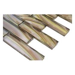 """Metallic Sidewinder Glass Tile - sample-Metallic Sidewinder 1X4 1/4 sheet-sample sample You are purchasing a 1/4 sheet sample measuring approximately 3"""" x 12"""". Samples are intended for color comparison purposes, not installation purposes.-Glass Tiles -"""
