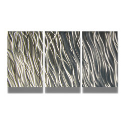 Miles Shay - Metal Wall Art Decor Abstract Contemporary Modern Sculpture- Silver Reef 47 - This Abstract Metal Wall Art & Sculpture captures the interplay of the highlights and shadows and creates a new three dimensional sense of movement as your view it from different angles.
