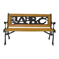 Pier Surplus - ABC Junior Park Bench -- Cast Iron Kids Park Bench With Iron Back #PB10016 - A park bench like this one is a point of interest in your back yard as well as a great place to enjoy your garden with your kids.
