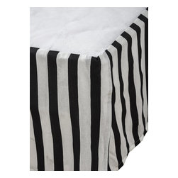 """Rizzy Home - Cassidy Black Full Size Kids Bed Skirt - Rachel Kate Girl """"Cassidy"""" tailored black and white striped bed skirt completes the look of the Cassidy comforter set."""