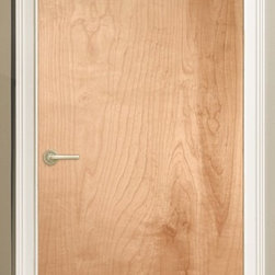 Low cost interior door option for loft make-overs - A flush door with an uncluttered appearance and a rich, natural wood veneer is the perfect offset to painted jamb/case/base/cove. Here: natural birch. Real wood, a no VOC finish and complementary for newly renovated decor with either painted or stained wood trim.