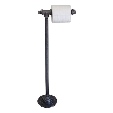 Industrial Home Bazaar - Industrial Pipe standing Paper Holder - Constructed with black metal pipes and fittings.