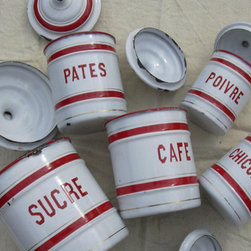 Enamel Canisters From St. Servais, 1940 by My Nifty Brocante, Set of 5 - I love vintage French enamelware, and these gorgeous canisters will add interest and color to your kitchen. They are perfect for keeping bags of treats and candies within easy reach.
