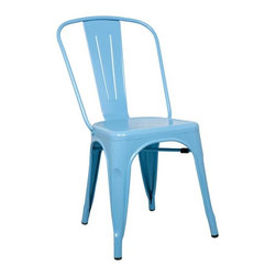 Fine Mod Imports - Stackable Talix Chair in Blue - Contemporary style. Curved back. Outdoor powder coating protection. Can be used for indoor or outdoor. Warranty: 1 year. Made from galvanized steel. No assembly required. 18 in. W x 18 in. D x 34 in. H (12 lbs.)More than three quarters of century later, the famous chair adopts new look.