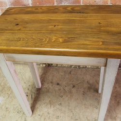 "Rustic Powder Room Console - This cottage style end table is perfect for any powder room or small area you might need to place your odds and ends. This beautifully simple old pine table is finished in our glazed oyster white color on the base, and the rustic pine top has been finished in our golden brown shade. Not much says it better than ""simply beautiful"". Size seen: 30"" x 18"" x 30""h. Two inch thick rustic old pine with tapered legs."