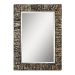 Uttermost - Coaldale Bark Veneer Rustic Beveled Mirror with Silver Leaf Antiquing - This  unique  rustic  mirror  features  a  bark  veneer  frame  with  all  of  the  colors  and  textures  of  real  tree  bark  antiqued  with  silver  leaf.  If  you're  looking  for  a  mirror  with  a  little  more  flare  and  interest,  consider  the  Coaldale.    The  beveled  mirror  adds  a  touch  of  formality.  Hangs  horizontally  or  vertically.