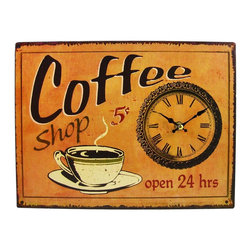 Zeckos - Coffee Shop Open 24 Hours 13 x 9 Sign/Wall Clock - Made of fiberboard, this gorgeous 13 inch by 9 inch battery powered wall clock features a retro coffee shop motif on the face. The clock has a distressed look, with wear marks and printed rust as part of the design. It runs on one AA battery (not included). This wall clock is BRAND NEW, never hung, and makes a great gift for coffee lovers.