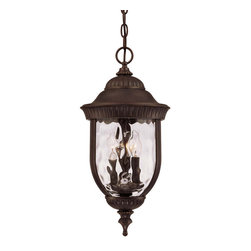Savoy House - Savoy House 5-60328-40 Castlemain Hanging Lantern - An incredibly versatile and economical group with Clear Watered glass, available in a variety of sizes, plus post and hanging. Also available in Energy Star with Tuscan glass. Walnut Patina finish and Clear Hammered glass.