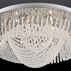 Lite Source - Lite Source EL-50085 Orella Flush Mount Ceiling Light - Chrome metal ceiling panel allow for thesefull cut miniature crystal strand ceilingfixtures to sparkle like diamonds overhead.