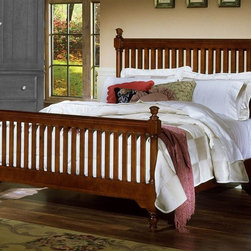 Vaughan Bassett - Slat Poster Bed in Cherry Finish (Queen) - Choose Bed Size: QueenFull Size:. Includes slat poster headboard, slat poster footboard and wood rails with 3 1-inch slats. Slat poster headboard: 64 in. L x 3 in. W x 58 in. H. Slat poster footboard: 64 in. L x 3 in. W x 35 in. H. Wood rails: 76 in. L x 6 in. W x 1 in. H. Queen Size:. Includes slat poster headboard, slat poster footboard and wood rails with 3 1-inch slats. Slat poster headboard: 64 in. L x 3 in. W x 58 in. H. Slat poster footboard: 64 in. L x 3 in. W x 35 in. H. Wood rails: 82 in. L x 6 in. W x 1 in. H. Eastern King Size:. Includes slat poster headboard, slat poster footboard and wood rails with 6 1-inch slats. Slat poster headboard: 81 in. L x 3 in. W x 58 in. H. Slat poster footboard: 81 in. L x 3 in. W x 35 in. H. Wood rails: 82 in. L x 6 in. W x 1 in. H. California King Size:. Includes slat poster headboard, slat poster footboard and wood rails with 6 1-inch slats. Slat poster headboard: 81 in. L x 3 in. W x 58 in. H. Slat poster footboard: 81 in. L x 3 in. W x 35 in. H. Wood rails: 86 in. L x 6 in. W x 1 in. H. Cherry finish. Assembly required