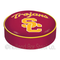 "Holland Bar Stool - Holland Bar Stool BSCSouCal USC Trojans Seat Cover - BSCSouCal USC Trojans Seat Cover belongs to College Collection by Holland Bar Stool This USC Trojans bar stool cushion cover is hand-made in the USA by Covers by HBS; using the finest commercial grade vinyl and utilizing a step-by-step screen print process to give you the most detailed logo possible. This cover slips over your existing cushion, held in place by an elastic band. The vinyl cover will fit 14"" diameter x 4"" thick seats. This product is Officially Licensed. Make those old stools new again while supporting your team with the help of Covers by HBS! Seat Cover (1)"