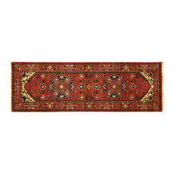 Manhattan Rugs - New 3x8 Persian Heriz HandKnotted Wool Deep Red Veg Dyed Serapi Floral Rug H5896 - Heriz is situated in the northwestern part of Iran (Persia).  Though the term covers Hand knotted rugs of numerous small villages in the area, the most beautiful Rugs were woven in Heriz itself For the last 100 years, the Heriz carpet designs have basically remained the same, with only small variations in color pallets and density of the design. The late 19th Century Rug (so called Serapis) was of fewer details and softer colors and with time designs became denser with added jewel tone color pallets. The revival of the carpet industry in the late 19th Century was based on the demand of the Western markets, with America in particular. Weavers in Heriz hand knotted were asked to make carpets inspired by the Fereghan Sarouks of higher cost for consumers of more limited budgets. Even though Sarouk carpets changed style later on, Heriz weavers stayed with the geometric pattern till now.  However, Heriz was also a center of production of some of the best handmade carpets with both geometric and curvilinear floral patterns.  A special heirloom wash produces the subtle color variations that give rugs their distinctive antique look.
