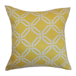 "The Pillow Collection - Ulei Geometric Pillow Lemon Ice 18"" x 18"" - Brighten up your home with this warm and chic throw pillow. This accent pillow features a white-colored chain link print on a yellow fabric. This square pillow complements various decor styles, including contemporary, modern and more. This 18"" pillow looks great on its own. Made from 100% soft and high-quality cotton fabric. Hidden zipper closure for easy cover removal.  Knife edge finish on all four sides.  Reversible pillow with the same fabric on the back side.  Spot cleaning suggested."