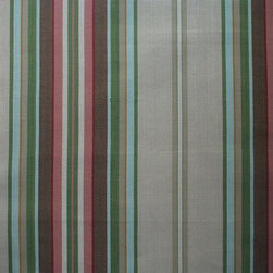 """Close to Custom Linens - 22"""" Twin Bedskirt Tailored Carlton Stripe Linen Beige - Carlton is a varied-width stripe with muted shades of linen, brown, rose, blue, green and cream."""