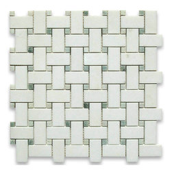 "Stone Center Corp - Thassos White Marble Basketweave Mosaic Tile Green Dots 1x2 Honed - Thassos white marble 1"" x 2"" rectangle pieces and Ming Green 3/8"" dots mounted on 12"" x 12"" sturdy mesh tile sheet"