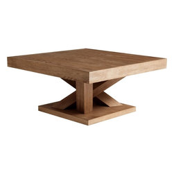 Sunpan - Madero Square Coffee Table, Driftwood - The base of this extraordinary square coffee table is inspired by groups of tree trunks sprouting from the earth. It gives the table an almost organic look while the clean lines remain very modern. Made of ash and ash veneer in a reclaimed look.