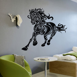 ColorfulHall Co., LTD - Vinyl Decals Fairy Magic Jungle Animals Wall Decals Runing Horse, Black - Vinyl Decals Fairy Magic Jungle Animals Wall Decals Runing Horse