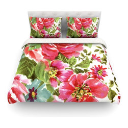 """Kess InHouse - Heidi Jennings """"Walk Through The Garden"""" Pink Flowers Cotton Duvet Cover (Queen, - Rest in comfort among this artistically inclined cotton blend duvet cover. This duvet cover is as light as a feather! You will be sure to be the envy of all of your guests with this aesthetically pleasing duvet. We highly recommend washing this as many times as you like as this material will not fade or lose comfort. Cotton blended, this duvet cover is not only beautiful and artistic but can be used year round with a duvet insert! Add our cotton shams to make your bed complete and looking stylish and artistic! Pillowcases not included."""