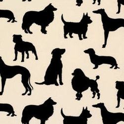 Dog Flock Velvet Wallpaper - Make a bold statement in any room with this dashing dog silhouette wallpaper.