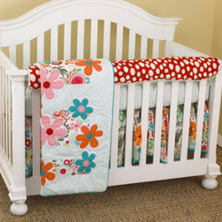 """Cotton Tale Designs - Lizzie Front Crib Rail Cover Up Set - A quality baby bedding set is essential in making your nursery warm and inviting. Cotton Tale uses quality materials and unique designs to create your perfect nursery. Lizzie Front Crib Rail Cover Up Set contains dust ruffle, fitted crib sheet, coverlet, and front rail cover up, it has lots of color in a bright cotton motif. The Lizzie front cover up is both function and design, measuring 51 x 15. What a great idea, this front rail cover up protects your foot board on the convertible cribs and it looks great. For the parent choosing not to use a bumper, it can add the needed decor lost when the bumper is removed. Large appliqued daisies on a patchwork of big dot red, small red dot and a fancy contemporary floral. Accents in bright turquoise Sculptured dust ruffle with turquoise trim. Soft dot sheet 100%, 200 thread count cotton. Wash gentle cycle, separate, cold water. Tumble dry low or hang dry. This collection is perfect for your little girl.; Weight: 9 lbs; Dimensions: 19""""L x 19""""W x 9""""H"""