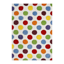 Alliyah Rugs - Handmade Alliyah Multicolor Circles New Zealand Blend Wool Rug (8' x 10') - Give your home decor a contemporary splash of color with this fun rectangular area rug. Handmade with plush New Zealand blended wool,this off-white area rug features a bright multicolored dot pattern that is perfect for any child's bedroom or playroom.