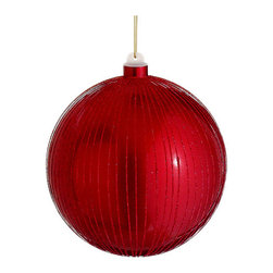 Silk Plants Direct - Silk Plants Direct Glittered Stripe Ball Ornament (Pack of 6) - Red - Pack of 6. Silk Plants Direct specializes in manufacturing, design and supply of the most life-like, premium quality artificial plants, trees, flowers, arrangements, topiaries and containers for home, office and commercial use. Our Glittered Stripe Ball Ornament includes the following: