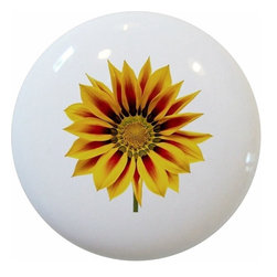 Carolina Hardware and Decor, LLC - Sunflower Floral Cabinet Drawer Knob - New 1 1/2 inch ceramic cabinet, drawer, or furniture knob with mounting hardware included. Also works great in a bathroom or on bi-fold closet doors (may require longer screws). Item can be wiped clean with a soft damp cloth. Great addition and nice finishing touch to any room!