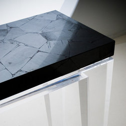 Hematite Table - Another example of a table done with Forza (hematite) from our gemstone surfaces collection.