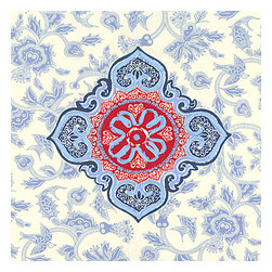 Blue & Red Ribbon-Embellished Medallion Fabric - Intricate sky blue & ruby red ribbon-embellished medallion. It's tradition with a twist.Recover your chair. Upholster a wall. Create a framed piece of art. Sew your own home accent. Whatever your decorating project, Loom's gorgeous, designer fabrics by the yard are up to the challenge!