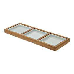 Kouboo - Modular Serving Platter in Teak with 3 Dishes - From this 3-piece modular serving platter, you're able to serve an array of delicious dishes in style. Natural wood tones set off the white porcelain dishes that serve as the perfect plate for everything from sushi to hord d'euvres to petit-fours.