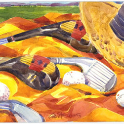 Caroline's Treasures - Golf Clubs Golfer Kitchen or Bath Mat 24x36 - Kitchen or Bath COMFORT FLOOR MAT This mat is 24 inch by 36 inch.  Comfort Mat / Carpet / Rug that is Made and Printed in the USA. A foam cushion is attached to the bottom of the mat for comfort when standing. The mat has been permenantly dyed for moderate traffic. Durable and fade resistant. The back of the mat is rubber backed to keep the mat from slipping on a smooth floor. Use pressure and water from garden hose or power washer to clean the mat.  Vacuuming only with the hard wood floor setting, as to not pull up the knap of the felt.   Avoid soap or cleaner that produces suds when cleaning.  It will be difficult to get the suds out of the mat.
