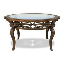 Riverside Furniture - Serena Round Cocktail Table in Brown Sugar Finish - Decorative metal motif suspended under top