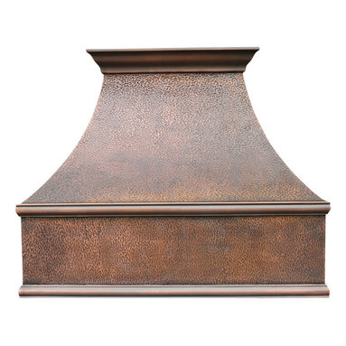 World CopperSmith - Traditional Copper Range Hood by World CopperSmith - The Traditional Copper Range Hood is hand constructed from virgin cold rolled copper, features a decorative crown modeling and dark patina. What makes this hood unique is the intrecit hood texture. The range hood is brushed and sealed for a maintenance free finish.