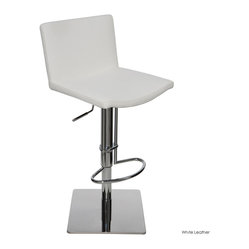 Nuevo Living - Gia Adjustable Stool, White Leather, Set of 2 - Tailor your seating to your style, your size and your relaxation level. This piece looks consummately sleek, but with its adjustable height, footrest and cushioned seat with backrest, it's as comfortable as it gets.