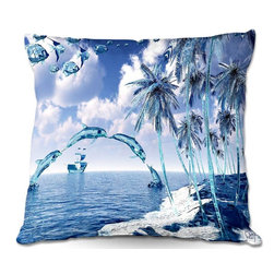 DiaNoche Designs - Pillow Linen by Mark Watts - Aquatic Reflections - Add a little texture and style to your decor with our Woven Linen throw pillows. The material has a smooth boxy weave and each pillow is machine loomed, then printed and sewn in the USA.  100% smooth poly with cushy supportive pillow insert with a hidden zip closure. Dye Sublimation printing adheres the ink to the material for long life and durability. Double Sided Print, machine wash upon arrival for maximum softness. Product may vary slightly from image.