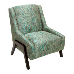 Great Deal Furniture - Bonita Green-Blue Swirl-Pattern Fabric Accent Chair - Adorn your living room with the fun and stylish Bonita Occasional Chair. With its soft green blue color combination and swirl pattern that compliments its unique frame, this accent chair will add something extra to any room you place it in.