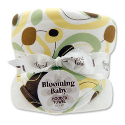 "Trend Lab - Bouquet Hooded Towel - Giggles Print - Trend Lab's Giggles Print Hooded Towel will keep your baby warm and dry after bath time. The white terry towel features a cotton twill free form circle print throughout the hood and trim in sage, buttercup, chocolate and caramel on a white background. Hooded towel measures 32"" x 30""."