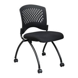 Office Star - Deluxe Armless Folding Chair w Plastic Back a - Includes 2 Chairs. Ventilated Plastic Back. Black Fabric Padded Seat. Titanium Finish Legs. Seat Folds for Horizontal Nesting. Seat: 18 in. W x 19 in. D x 2.5 in. T. Back: 18.5 in. W x 14.25 in. H. Overall: 24.5 in. W x 22 in. D x 34 in. H