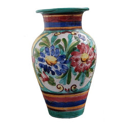Pre-owned Deruta Italian Pottery Floor Vase - For almost 800 years, the master potters of Deruta, Italy have been throwing pots. With almost 200 ceramic workshops still in working order, these potters are among the best in the world. This Deruta floor vase is a perfect example, with bright floral and stripe accents in vibrant colors. It's the perfect place to stash umbrellas, or show off those extra long day lilies.     There are no chips or cracks, but some roughness to the bottom, as pictures. It still retains it's original MADE IN ITALY sticker on the bottom.