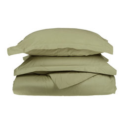 1500 Thread Count Egyptian Cotton King/Cal. King Sage Solid Duvet Set - 1500 Thread Count King/California King Sage Solid Duvet Set 100% Egyptian Cotton