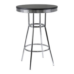 "Winsome Wood - Winsome Wood Summit Pub Table with Black / Metal Finish X-03039 - Summit retro pub table has a polished metal frame and legs with black composite wood top.  The table top is 30"" diameter to accommodate dinner plates , beverage ware and  condiments.  At 40.55"" high, the matching swivel barstools are a perfect compliment for the table."
