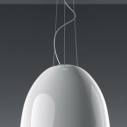 """Artemide - Artemide Nur Gloss pendant light - The Nur Gloss pendant light fromArtemide has been designed by Ernesto Gismondi 2009. This suspension mounted luminaire is great for direct halogen or fluorescent lighting with subtle indirect lighting The Nur Gloss is composed of highly polished and smooth domed diffuser in spun aluminum, available in glossy white or glossy black. This fixture is also equipped with sanded glass at top of dome and an acrylic diffuser at bottom to shield the lamps. Ceiling canopy in steel with thermoplastic cover and suspension cables in stainless steel. The Nur Gloss pendant light exhibits a sleek, innovative and unique design, along with quality craftsmanship, that is sure to brilliantly illuminate any modern environment.  Product Description:  The Nur Gloss pendant light fromArtemide has been designed by Ernesto Gismondi 2009. This suspension mounted luminaire is great for direct halogen or fluorescent lighting with subtle indirect lighting The Nur Gloss is composed of highly polished and smooth domed diffuser in spun aluminum, available in glossy white or glossy black. This fixture is also equipped with sanded glass at top of dome and an acrylic diffuser at bottom to shield the lamps. Ceiling canopy in steel with thermoplastic cover and suspension cables in stainless steel. The Nur Gloss pendant light exhibits a sleek, innovative and unique design, along with quality craftsmanship, that is sure to brilliantly illuminate any modern environment.  Details:      Manufacturer:    Artemide      Designer:    Ernesto Gismondi 2009      Made in:    Italy      Dimensions:    Height: 86 5/8"""" (220 cm) Diameter: 21 11/16"""" (55 cm)      Light bulb:    1 X 250W halogen or 1 X 70W fluorescent      Material:    Spun Aluminum, Glass, Acrylic, Stainless Steel"""