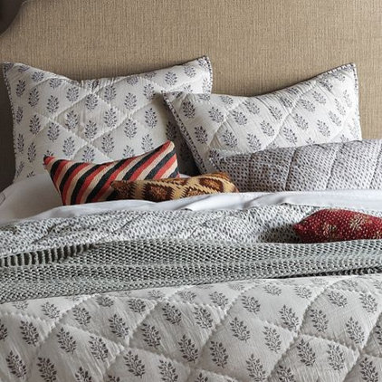 Asian Quilts And Quilt Sets Hand-Blocked Leaf Quilt + Shams, West Elm